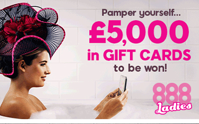 Five £1000 Gift Cards to Be Won in the Every Day is 888 Ladies Day Promotion