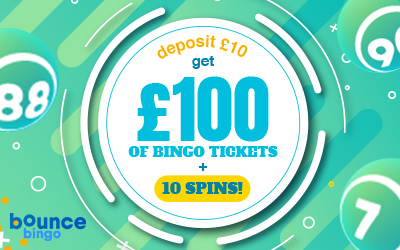 Hop on Over to Bounce Bingo and Turn a Tenner into £100 of Bingo Tickets Plus Some Bonus Spins!