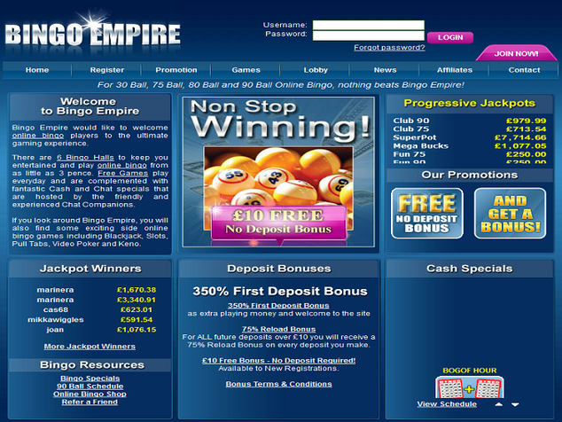 Bingo Empire Home Page